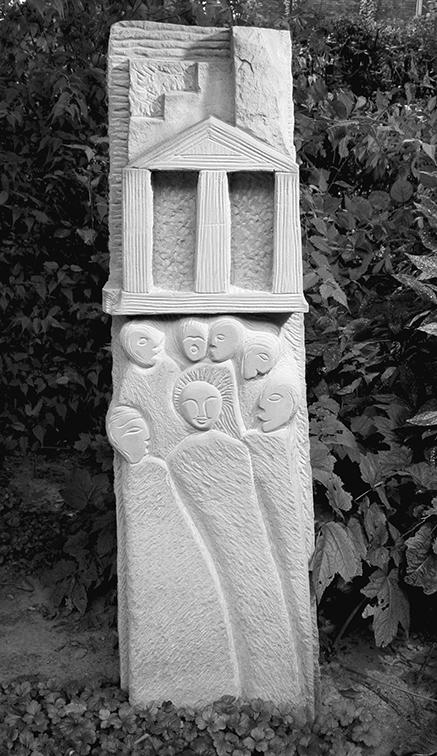 Sandsteinskulptur Jesus in Stein Tempel